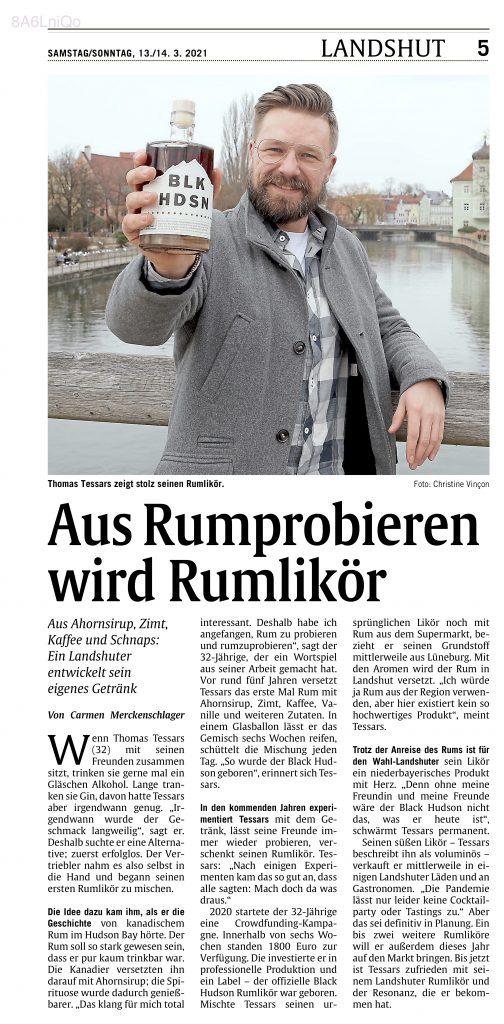 Landshuter Abendzeitung München Landshut Black Hudson Rumlikör